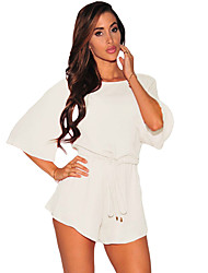 Women's Drawstring Knot Open Back Romper