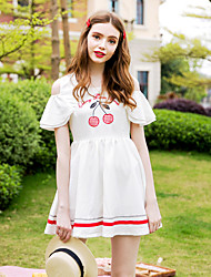 Linjou Women's Cute A Line DressEmbroidered Round Neck Above Knee Short Sleeve White Polyester High Rise Inelastic