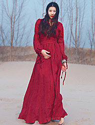 Whisper Wheat  Women's Going out / Holiday Vintage A Line DressSolid Deep V Maxi Long Sleeve Red Linen Summer High Rise