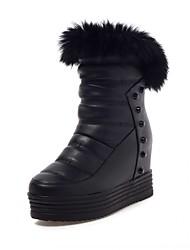 Feminino-Botas-Plataforma Inovador Botas de Cowboy Botas de Neve Botas da Moda-Anabela Plataforma-Preto Branco-Couro Envernizado Courino-