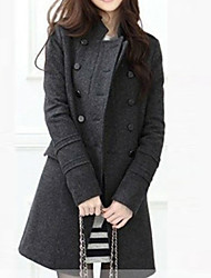 Women's Coat,Solid Square Neck Long Sleeve Spring Black / Brown / Gray Polyester Thick