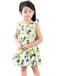 Girl's Going out Print Dress,Cotton / Linen Summer Pink / Yellow