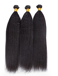 3 Pieces Yaki Human Hair Weaves Brazilian Texture Human Hair Weaves Yaki