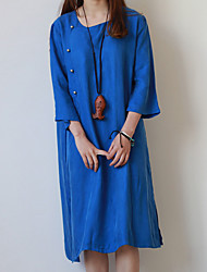 Cynthia Women's Casual/Daily Vintage Tunic DressSolid Round Neck Knee-length  Sleeve Blue Others Spring