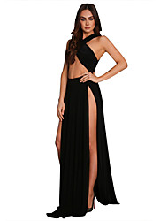 Women's Sexy Plus Size / Party/Cocktail / Club Solid Sheath Split Maxi Dress