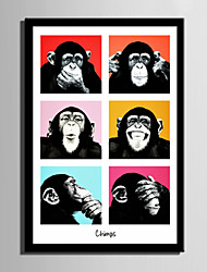 E-HOME® Framed Canvas Art, Chimpanzee Framed Canvas Print One Pcs