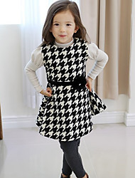Girl's Casual/Daily Plaid DressCotton Summer Black / Red