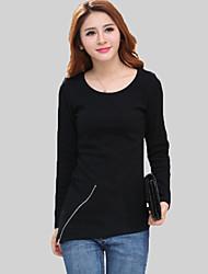 Damen Solide Einfach Lässig/Alltäglich T-shirt,Rundhalsausschnitt Herbst Langarm Schwarz / Gelb Baumwolle Mittel