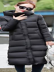 Women's Solid Black Down CoatStreet chic Hooded Long Sleeve