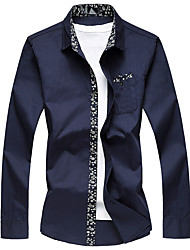 Men's Plus Size Business Casual Slim Cotton Floral Long Sleeve Shirt Cotton Polyester