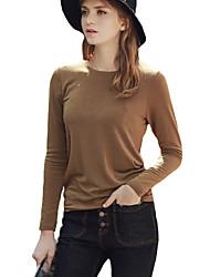 Damen Solide Einfach Lässig/Alltäglich T-shirt,Rundhalsausschnitt Herbst / Winter Langarm Schwarz / Braun Baumwolle / Kunstseide Dünn