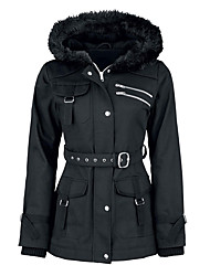 Women's Fashion Pure Color Thicken Cotton Parka Outerwear Hooded Keep Warm Long Coat
