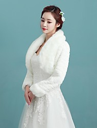 Women's Wrap Shrugs Long Sleeve Faux Fur Ivory Wedding / Party/Evening / Casual Fold-over Collar / fur Open Front