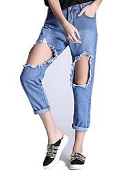 Women's Solid Blue Jeans PantsStreet chic
