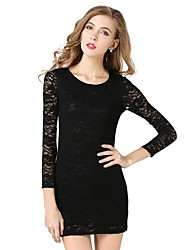 Women's Party/Cocktail Sexy / Sophisticated Sheath DressSolid Round Neck Mini Black Polyester Spring / Fall High Rise