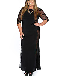 Women's Plus Size / Casual/Daily Vintage Sheath DressSolid Round Neck Maxi  Length Sleeve Black Polyester