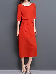 Mulheres Reto Vestido,Casual / Tamanhos Grandes Simples Sólido Decote Redondo Médio Meia Manga Vermelho / Preto Seda Verão