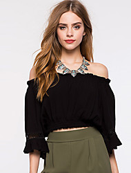 Women's Going out / Casual/Daily Sexy / Simple Spring / Summer BlouseSolid Boat Neck  Sleeve White / Black