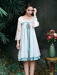 Our Story Going out Chinoiserie A Line / Chiffon DressEmbroidered Strapless Knee-length Short Sleeve Blue / White