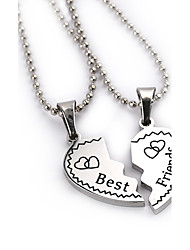 2pcs/set New Fashion Jewelry Best Friends Broken Heart Pendant Necklace Popcorn Chain Necklace Gifts For Women Girls