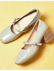 Розовый / Серый-Женский-Для прогулок-Кожа-На толстом каблуке-На каблуках-Обувь на каблуках