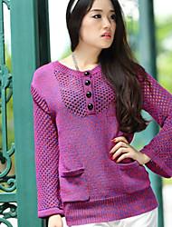 Mujer Regular Pullover Casual/Diario Simple,Un Color Morado Escote Redondo Manga Larga Algodón / Poliéster Primavera Medio Rígido