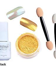3pcs/set Shinning Mirror Nail Glitter Powder Black UV Gel Nail Art Chrome Pigment Kit with Brush