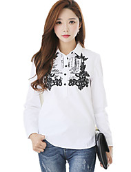 Women's Shirt Collar Print Loose Long Cotton OL Shirt / Blouse