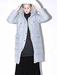 новый, прежде чем твердый синий / черный вниз coatsimple с капюшоном длинный рукав женщин