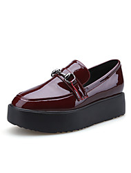 Women's Flats Fall Comfort / Round Toe / Closed Toe Leatherette Casual Flat Heel Button Black / Burgundy Walking