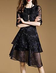 Women's Casual/Daily Sophisticated Sheath DressPrint Round Neck Asymmetrical  Length Sleeve Black Cotton Summer Mid