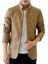 Men's Long Sleeve Casual / Work / Formal JacketPU / Polyester Solid Black / Blue / Brown