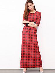 Feminino Bainha Vestido,Formal / Trabalho Sensual / Simples Estampado Decote Redondo Longo Manga ¾ Azul / Vermelho / Preto PoliésterTodas