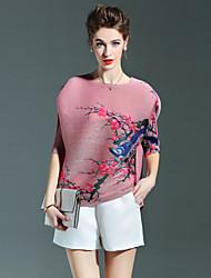 LOVE PLEATS  Women's Print Blue / Pink / Gray / Purple T-shirt,Round Neck ½ Length Sleeve