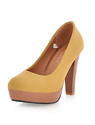 Women's Solid Fabric Surface High-Heels Round Closed Toe Pull-on Pumps-Shoes