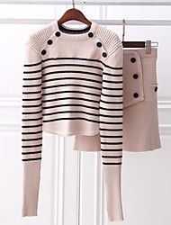 Boutique S Women's Casual/Daily Simple Set SkirtStriped Crew Neck Long Sleeve Blue / White