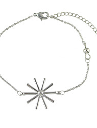 Simple Siver Color Snowflake Shape Chain Bracelets for Women