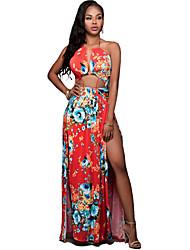 Women's Halter Sexy / Boho Print Split Cut Out Sheath Maxi Dress