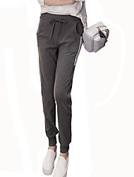 Mulheres Calças Simples Fitness Poliéster Micro-Elástica Mulheres