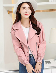 Women's Going out Street chic Spring / Fall Jackets,Solid Peaked Lapel Long Sleeve Blue / Pink