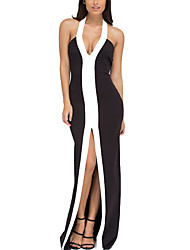 Women's Casual/Daily Sexy / Simple Bodycon DressSolid Halter Maxi Sleeveless Black Polyester All Seasons