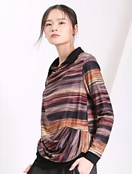 Yishidian® Femme Col de Chemise Manche Longues T-shirt Vert / Orange / Marron-ESD331