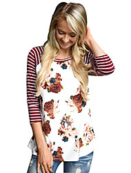 Damen Gestreift / Blumen Einfach Lässig/Alltäglich T-shirt,Rundhalsausschnitt Alle Saisons ¾-Arm Weiß Polyester Dünn