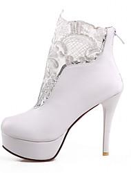 Feminino-Saltos-Plataforma Botas de Cowboy Botas de Neve Botas Montaria Botas da Moda-Salto Agulha Plataforma-Preto Branco-Sintético