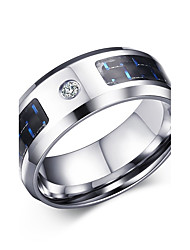 New Finger Ring for Men Male Zincon Rings Blank & Blue Carbon Fiber titanium ring Brand R-230