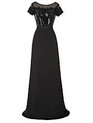 Formal Evening Dress A-line Jewel Floor-length Chiffon / Sequined with Appliques / Lace / Sequins