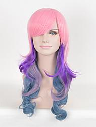 rosa multi-color mulheres afro perucas de moda sintética onda longa cosplay perucas