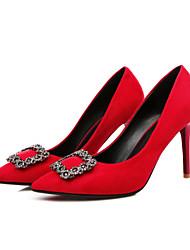 Damen-High Heels-Lässig-Wildleder-Stöckelabsatz-Fersenriemen-Schwarz / Rot