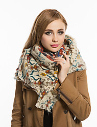 Women British Style Casual Square Multicolored Printing Cashmere Thick Scarf Warm Tassel Wool Scarves