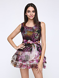 Women's Casual/Daily Simple Loose / Sheath Dress,Floral Round Neck Mini Sleeveless Black Polyester Spring